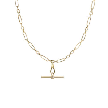 Heavy Ouvert Chain with T-Bar plaque by metier by tomfoolery. Shop metier by tomfoolery online at tomfoolerylondon.co.uk