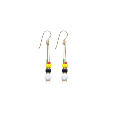 Yellow & White totem drop earrings by I. Ronni Kappos available at tomfoolery London | www.tomfoolerylondon.co.uk