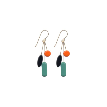 Green Rectangle Cluster drop earrings by I. Ronni Kappos available at tomfoolery London | www.tomfoolerylondon.co.uk