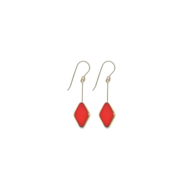 Large red diamond shaped drop earrings by I. Ronni Kappos available at tomfoolery London   www.tomfoolerylondon.co.uk