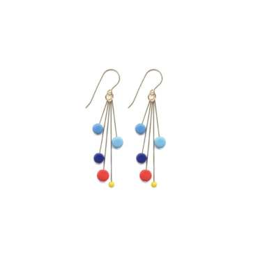 Blue and red tablet cluster drop earrings by I. Ronni Kappos available at tomfoolery London   www.tomfoolerylondon.co.uk
