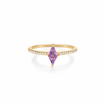 Gem Cut Amethyst & Diamond Ring by tomfoolery london 14ct series available to shop online at www.tomfoolerylondon.co.uk