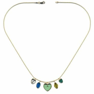Grassy Green Heart Charm necklace by I. Ronni Kappos available at tomfoolery London | www.tomfoolerylondon.co.uk