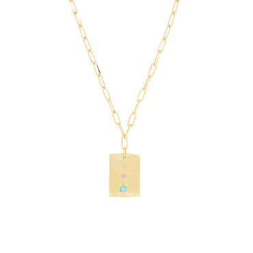 Maria Beltran, Square gold plated pendant with turquoise & sapphires, Tomfoolery London
