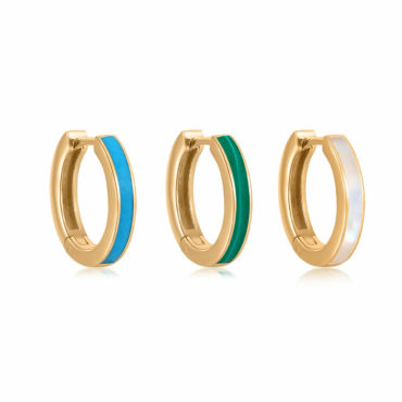Gemstone Inlay Slim Hoops by tomfoolery london 14ct series available to shop online at www.tomfoolerylondon.co.uk