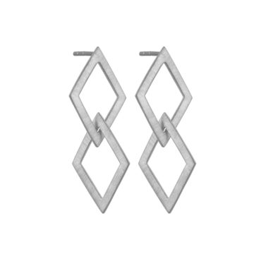 Tomfoolery, Silver Double Kite Drop Earrings, Everyday by tomfoolery