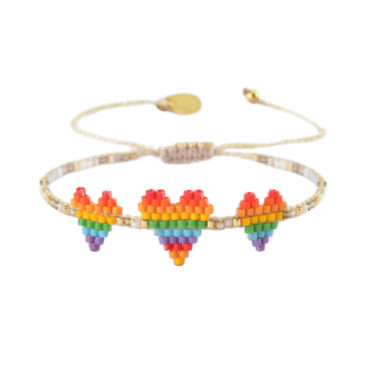 Rainbow heart friendship bracelet by Mishky available to shop online at tomfoolery London