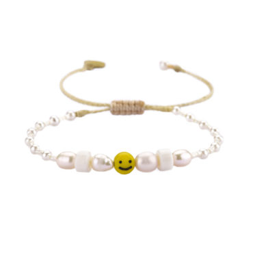 Smiley Pearl Friendship Bracelet by Mishky available to shop online at tomfoolery London