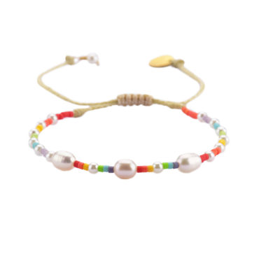Pearl Rainbow Pride Friendship Bracelet by Mishky available to shop online at tomfoolery London