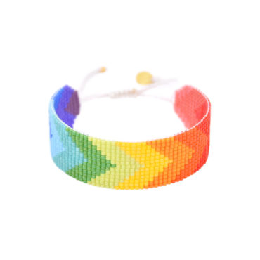 Rainbow forward arrow friendship bracelet by Mishky available to shop online at tomfoolery London