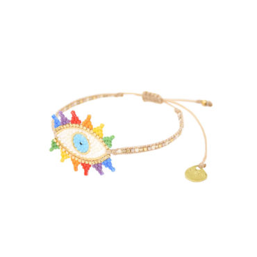 Rainbow Evil Eye Friendship Bracelet by Mishky available to shop online at tomfoolery London