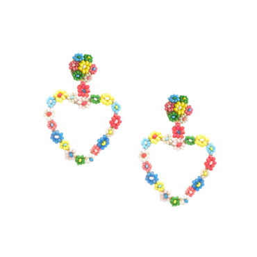 Rainbow Heart Daisy Drop Earrings by Mishky available to shop online at tomfoolery London