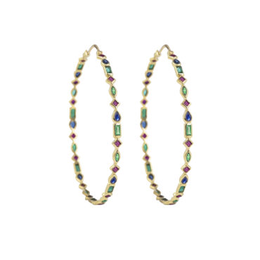 Large Mixed Cut Hoops by metier by tomfoolery. Shop metier by tomfoolery online at tomfoolerylondon.co.uk