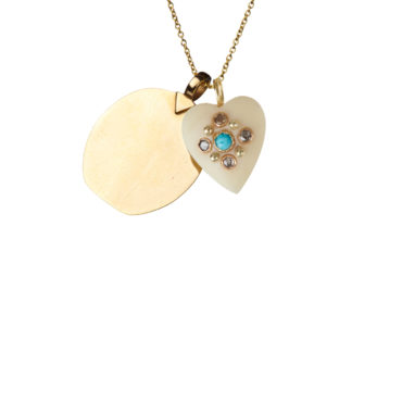 White Ivory Heart Pendant with a tag by 5 Octobre available to shop online at tomfoolery London.
