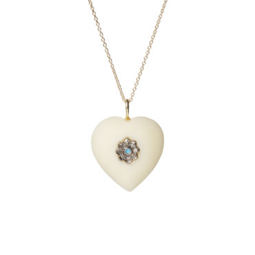 White Ivory Heart Pendant by 5 Octobre available to shop online at tomfoolery London.