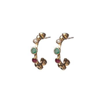 Khan Multi-Stone Hoop Earrings by 5 Octobre available to shop online at tomfoolery London.