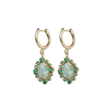 Malo Emerald Hoop Earrings by 5 Octobre available to shop online at tomfoolery London.