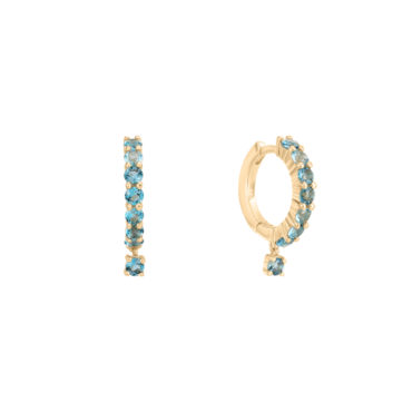 Blue Topaz Hoops by tomfoolery london 14ct series available to shop online at www.tomfoolerylondon.co.uk