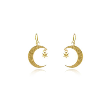 Crescent moon and star hook earrings by Momocreatura. Shop momocreatura at tomfoolery london.