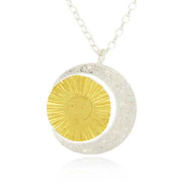 Crescent moon and sun necklace large by Momocreatura. Shop momocreatura at tomfoolery london.