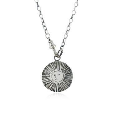 Large Sun/Moon Disc Lariat Reversible Necklace by Momocreatura. Shop momocreatura at tomfoolery london.