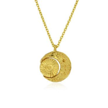 Crescent moon and sun necklace medium by Momocreatura. Shop momocreatura at tomfoolery london.