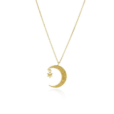 Crescent moon and star necklace by Momocreatura. Shop momocreatura at tomfoolery london.