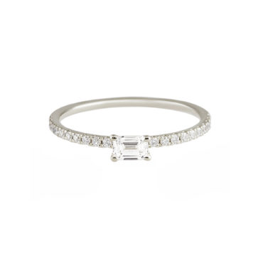 Delicate Emerald Cut Diamond Solitaire Ring by tf Diamonds - available at tomfoolery london