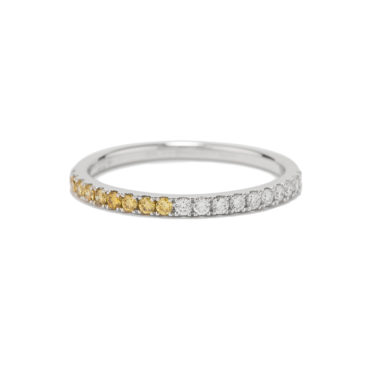 Yellow & White Diamond Half Eternity Ring by tf Diamonds - available at tomfoolery london