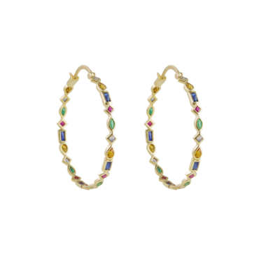 Midi Mixed Cut Hoops by metier by tomfoolery. Shop metier by tomfoolery online at tomfoolerylondon.co.uk