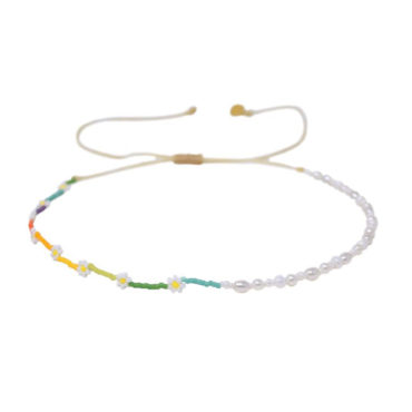 Daisy Rainbow & Pearl Choker by Mishky available to shop online at tomfoolery London