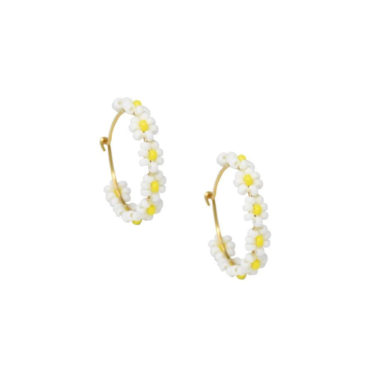 Pearl Daisy Hoops Earrings by Mishky available to shop online at tomfoolery London