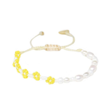 Daisy Pearl Friendship Bracelet by Mishky available to shop online at tomfoolery London