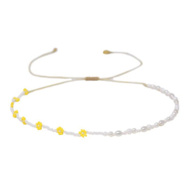 Daisy Beads & Pearl Choker by Mishky available to shop online at tomfoolery London