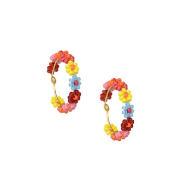 Rainbow Daisy Hoops by Mishky available to shop online at tomfoolery London
