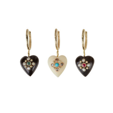 Single Heart Hoop Earring by 5 Octobre available to shop online at tomfoolery London.